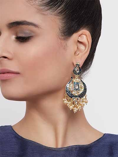 Blue Kundan & Meena Studded Brass Dangle Earrings