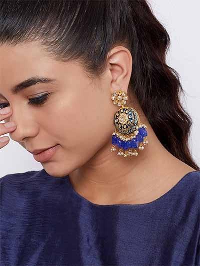 Green Kundan & Meena Studded Brass Dangle Earrings