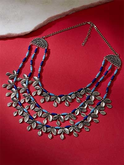 Steel-Toned & Blue Beads-Studded Statement Necklace