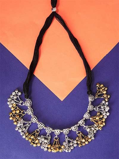 Threaded Dual-Toned Oxidized Choker Necklace