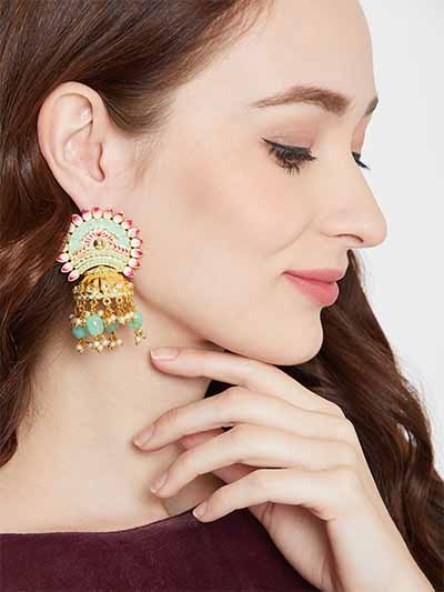Green and Pink Brass Jhumka Earrings