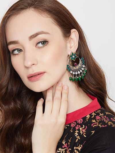 Floral Silver-Toned Green Gemstones Studded Brass Dangle Earrings