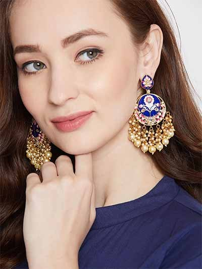 Floral Pink and Blue Meena and Pearl Studded Brass Earrings
