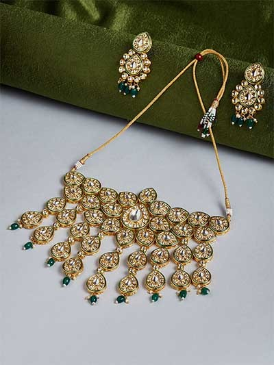 Green Gold-Plated Kundan Studded Statement Choker Necklace Set