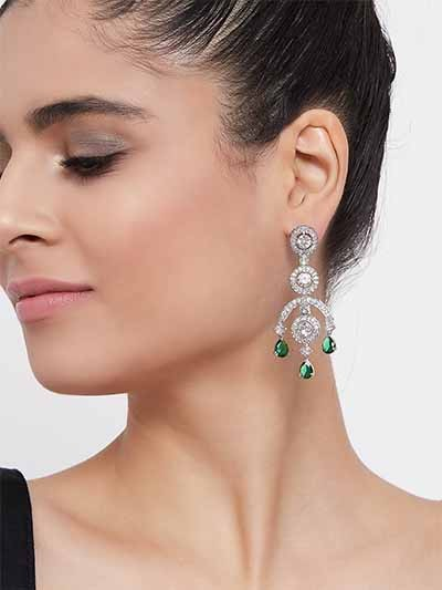 Silver-Plated American Diamond Earrings With Green Gemstones