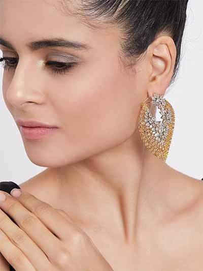 Silver-Plated Yellow Gemstones Studded American Diamond Leaf Earrings