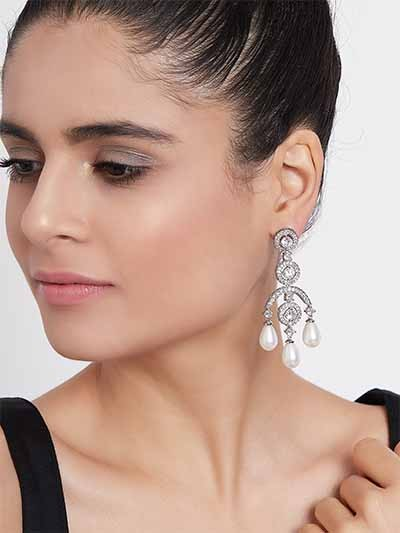 Silver-Plated American Diamond Earrings