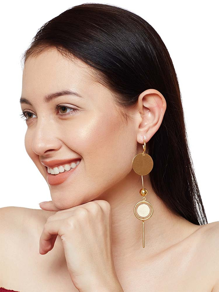 Bella Brass Plated Long 9 to 5 Office Wear Jewellery Earrings