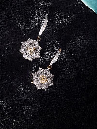 Floral American Diamond Earrings