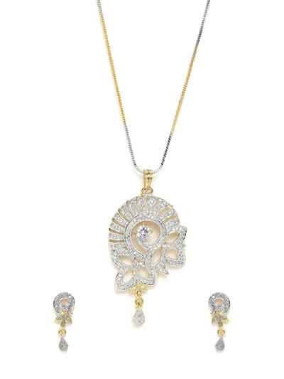 American Diamond Floral Pendant Necklace Set