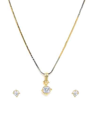 American Diamond Stud Pendant Necklace Set