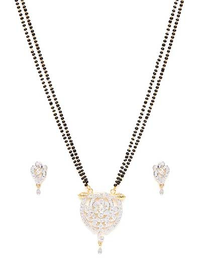 American Diamond Mangalsutra with Floral Pendant and Earrings