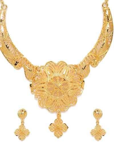 Golden Flower Ethnic Necklace Set