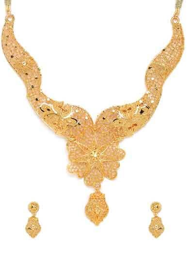 Classic Golden Floral Ethnic Necklace Set
