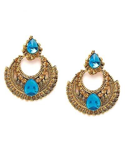 Short Golden and Blue Chandbali Ethnic Earrings