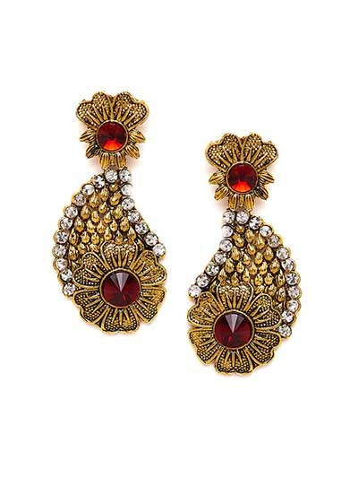 Golden Flower Dangle Earrings With Red Stones