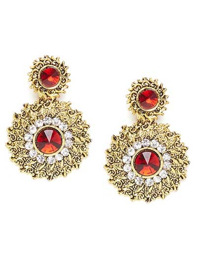 Short Golden and Red Disc Dangle Earrings