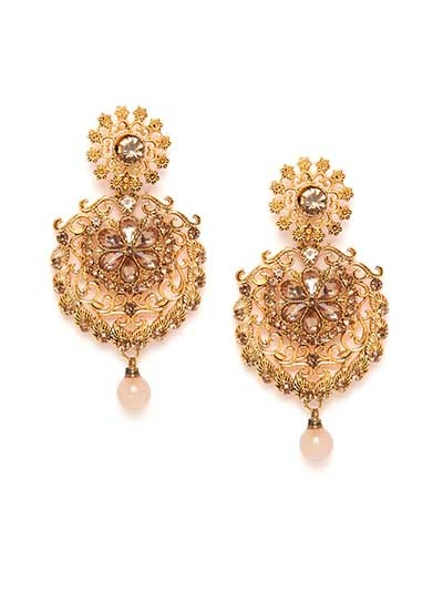 Golden Floral Ethnic Dangle Earrings