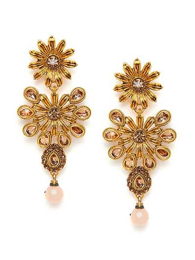 Golden Flower Ethnic Dangle Earrings