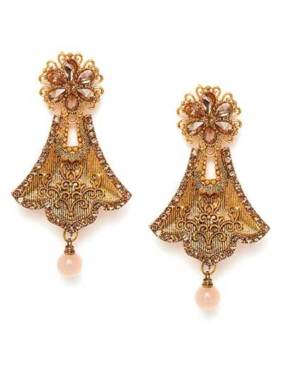Golden Bell Ethnic Dangle Earrings
