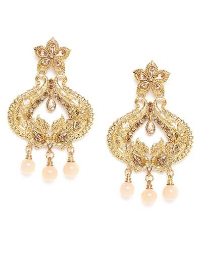Golden Peacock Ethnic Dangle Earrings