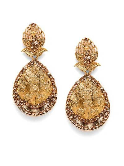 Golden Ethnic Drop Earrings With Embellished Floral Motifs