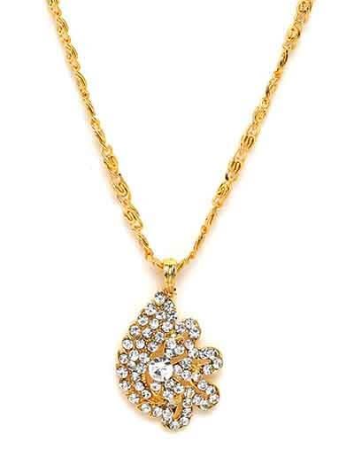 Classic Golden Floral Pendant Necklace Set
