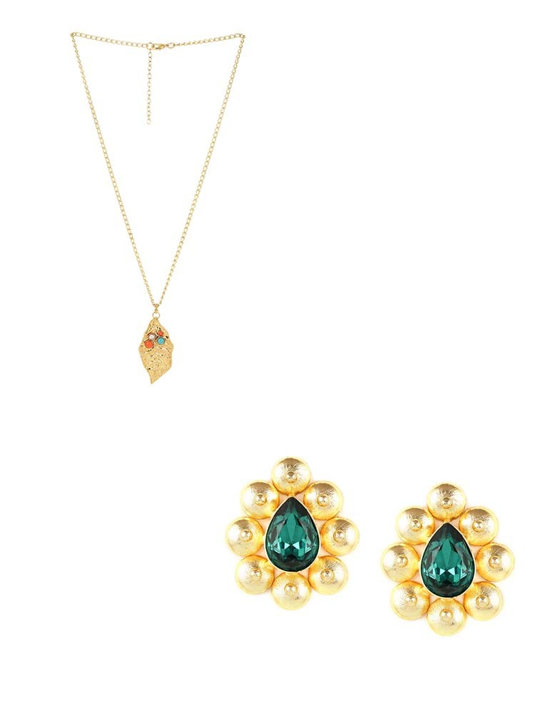 Antique Stones Embellished Pendant Fashion Necklace and Stones Embellished Stud Earrings Combo