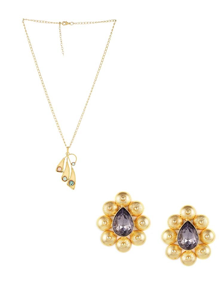 Vintage Styled Classic Pendant Fashion Necklace and Stones Embellished Stud Earrings Combo