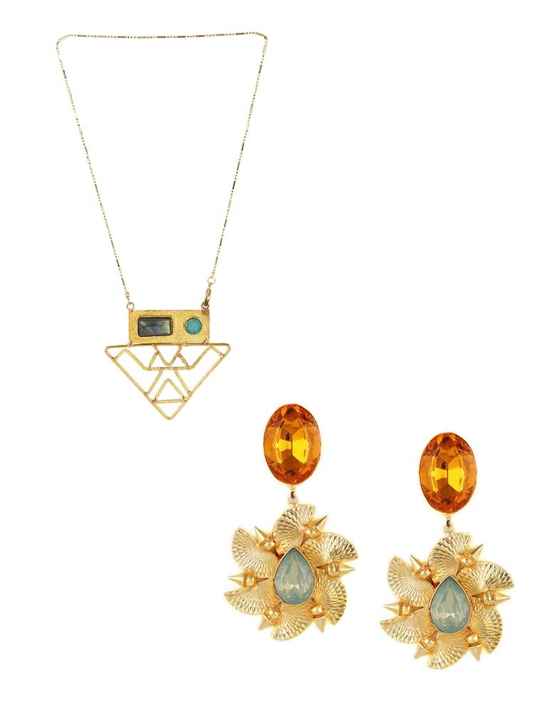 Vintage Triangular Pendant Fashion Necklace and Floral Wedding Earrings Combo