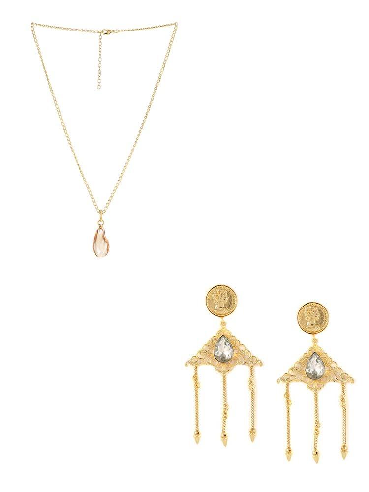 Stone Pendant Fashion Necklace and Vintage Stone Embellished Wedding Earrings Combo