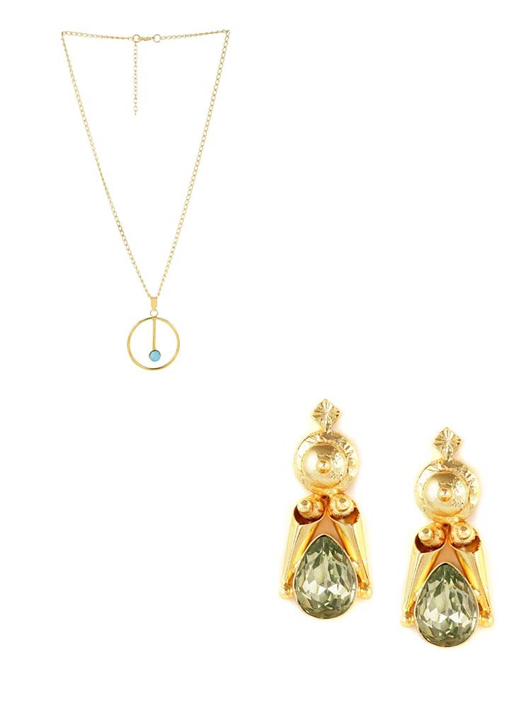 Blue Druzy Elegant Pendant Fashion Necklace and Ethnic Stone Embellished Wedding Earrings Combo