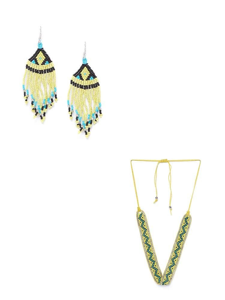 Yellow Seed Beads Handmade Jewellery Earrings and Necklace Combo