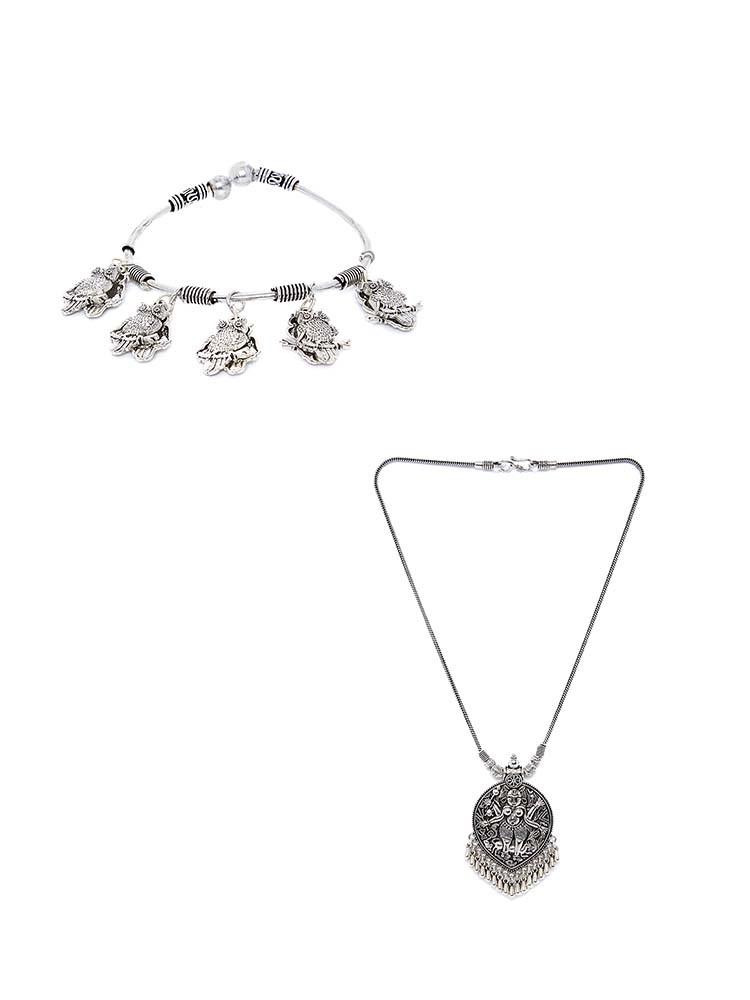 Deity Handmade Oxidized Necklace and Hanging Owls Cuff Bracelet