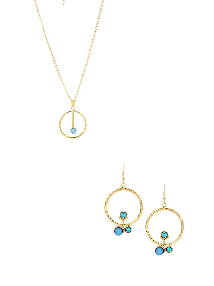 Blue Druzy Embellished Handmade Necklace and Earrings Combo