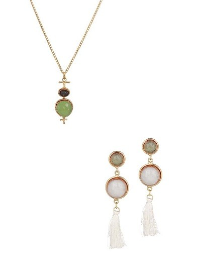 Lime and Black Druzy Necklace and White Agate Earrings Combo