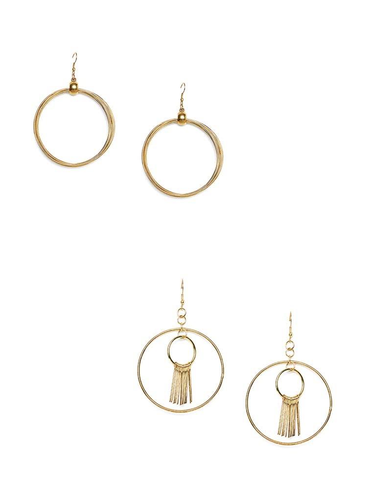 Multi-Layer Round Hoop Earrings Combo