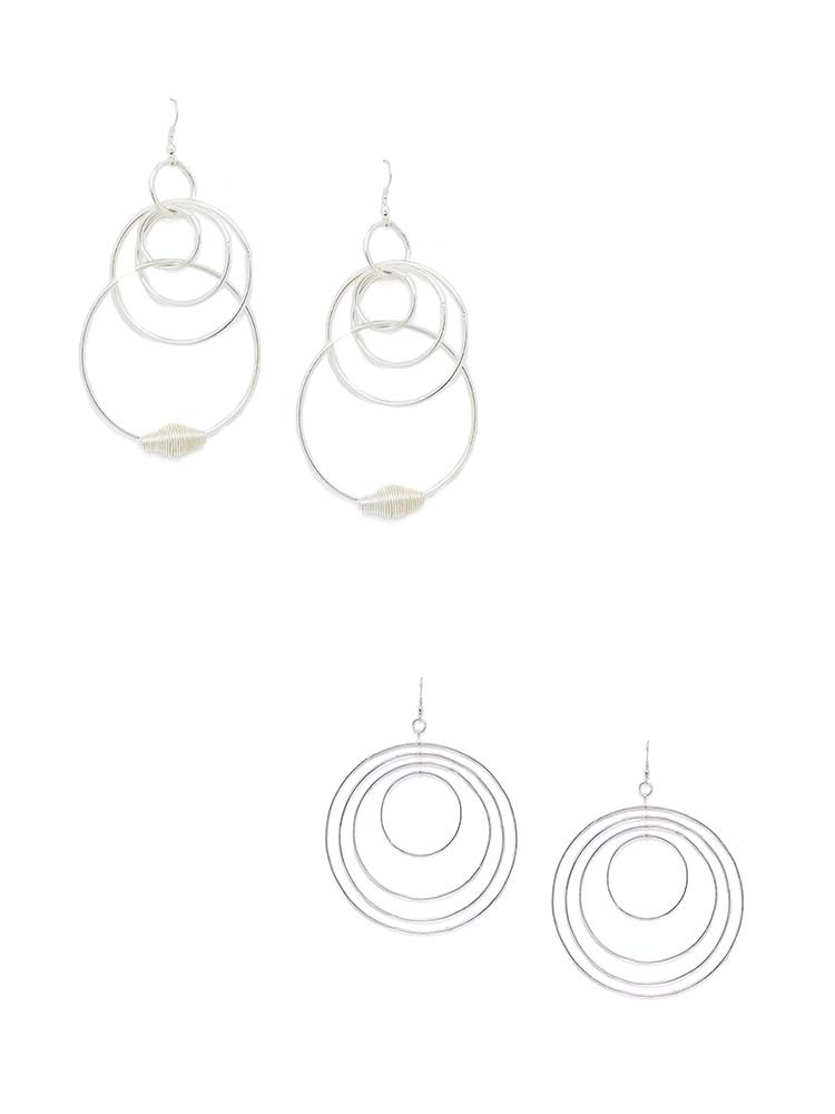 Multi-Layer Silver Round Hoop Earrings