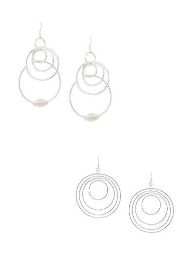 Multi-Layer Silver Round Hoop Earrings