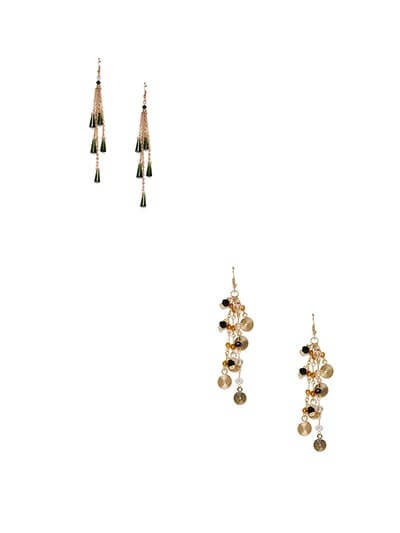 Combo of Black and Golden Western Earrings