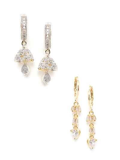 Combo of Two American Diamond Dangle Earrings