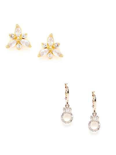 Combo of  America Diamond Dangle and Stud Earrings