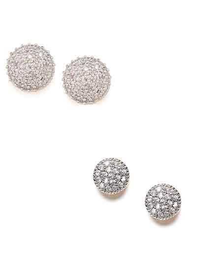 Combo of Two Clustered American Diamond Stud Earrings