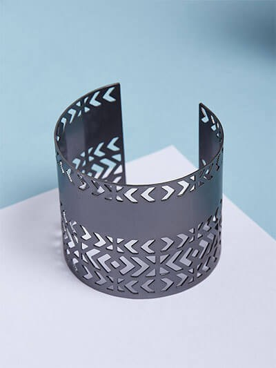 Patterned Grey Cuff Bracelet