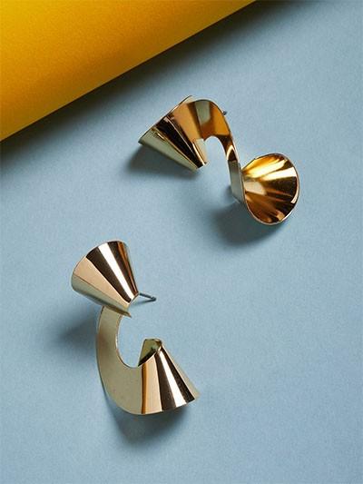 Golden Spiral Contemporary Earrings