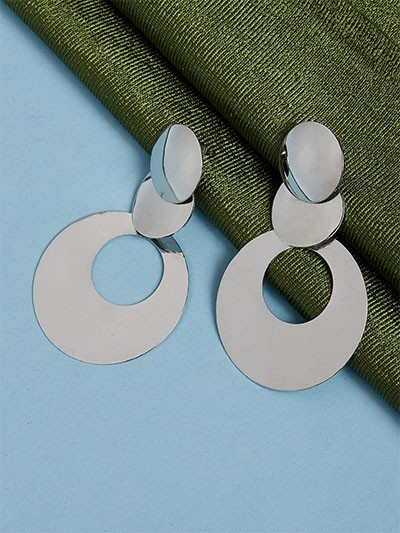 Contemporary Silver Dangle Earrings