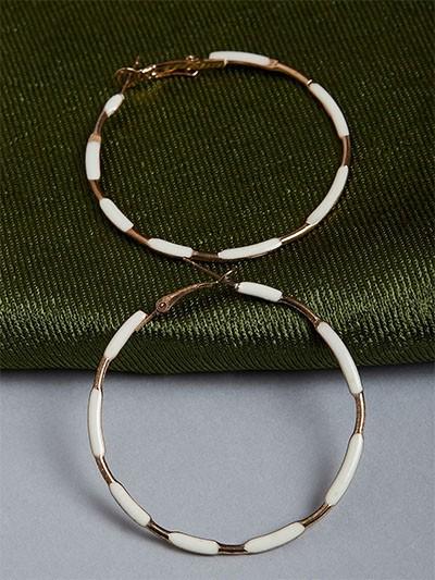 Golden and White Hoop Earrings