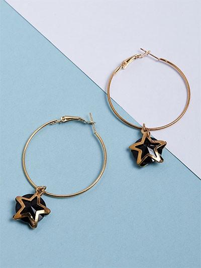 Golden and Black Star Hoop Earrings