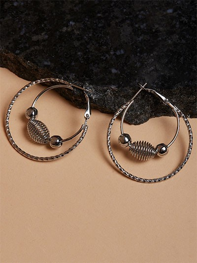 Beaded Grey Hoop Earrings
