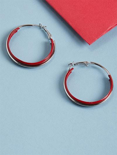 Red and Silver Hoop Earrings